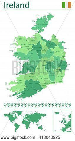 Ireland Detailed Map And Flag. Ireland On World Map.