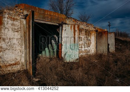 Entrance To Abandoned Underground Depot In Soviet Military Base