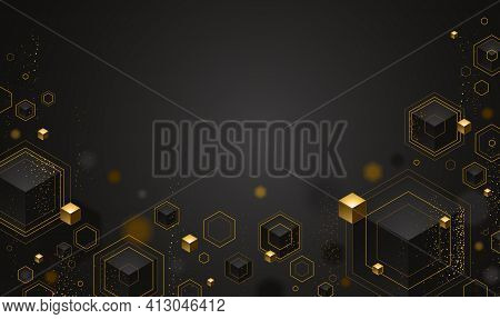 Cubes Cluster With Golden Elements Lines And Dots Vector Abstract Background With Copy Space, 3d Abs