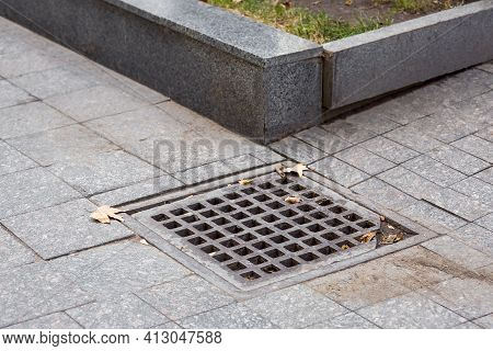 Square Drainage Grate Of Urban Infrastructure Pedestrian Dirty Tile Walkway Storm Draining System Wi