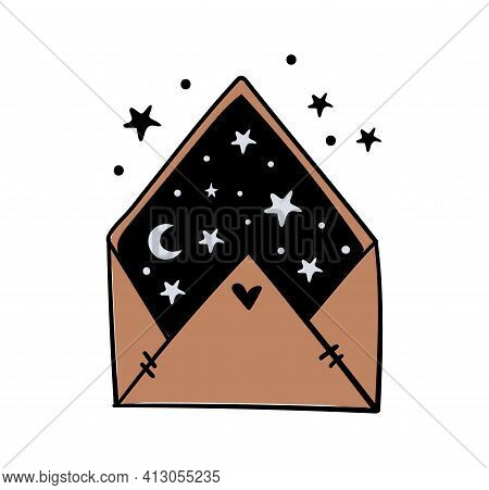 Envelope With Night Sky, Moon And Stars Inside, Colored Illustration, Magic Symbol Of Witchcraft, Bo