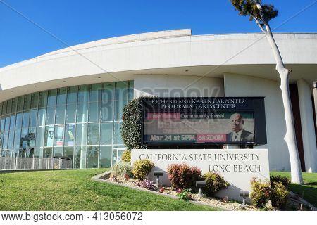 LONG BEACH, CALIFORNIA - 16 MAR 2021: The Richard and Karen Carpenter Performing Arts Center at California State University Long Beach.
