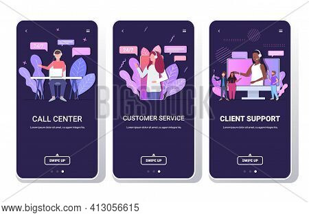 Set Helpline Operators With Headset Technical Client Support Customer Service Call Center Concept Sm