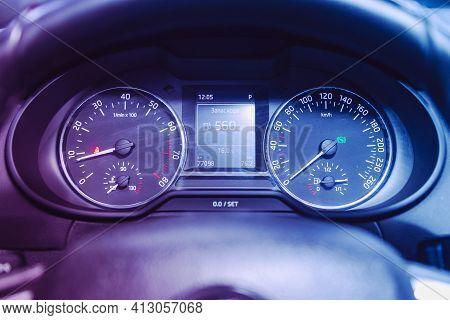 Novosibirsk, Russia - March 16  2021: Scoda Octavia, Car Panel, Digital Bright Speedometer, Odometer