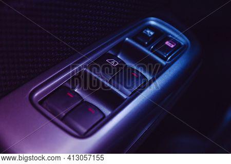 Novosibirsk, Russia - March 16  2021: Subaru Forester,arm Rest With Window Control Panel, Door Lock