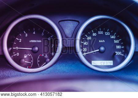 Novosibirsk, Russia - March 16  2021: Chevrolet Aveo, Car Panel, Digital Bright Speedometer, Odomete