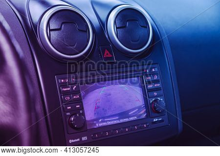 Novosibirsk, Russia - March 16  2021: Nissan Qashqai,  Reverse Camera With Monitor,buttons - Details