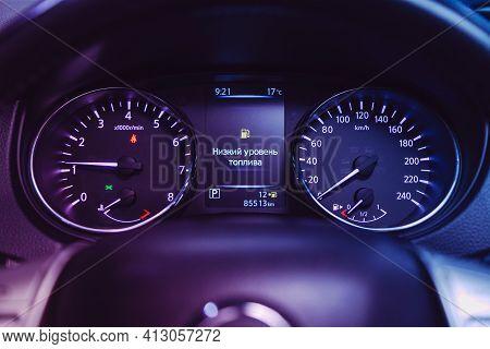 Novosibirsk, Russia - March 16  2021: Nissan Qashqai, Car Panel, Digital Bright Speedometer, Odomete