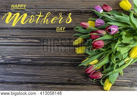 Happy Mother's Day! Flat Lay, Banner, Congratulations On Mother's Day