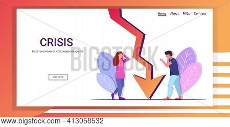 Businesspeople Couple Frustrated About Downward Chart Economic Arrow Falling Down Financial Crisis B
