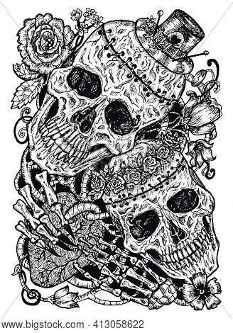 Black And White Illustration With Two Skulls Of Lovers Holding Heart, Decorated With Flowers. Mystic