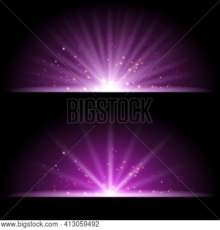 Putple Spotlight. Bright Lighting With Spotlights Of The Stage On Transparent Background.