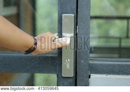 Person Opening Door. Person Holding Door Handle, Entering The Door. Life Solutions And Opportunity C