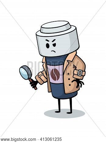 Vector Cartoony Illustration, Character, Mascot - Paper Cup Detective, Investigator, Policman