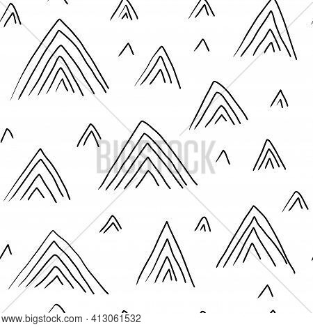 Seamless Pattern With Variety Abstract Shapes, Triangle, Mountain. Background Drawn With Ink And Mar