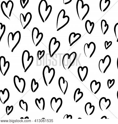 Seamless Pattern With Variety Abstract Shapes, Hearts. Background Drawn With Ink And Marker In Hand