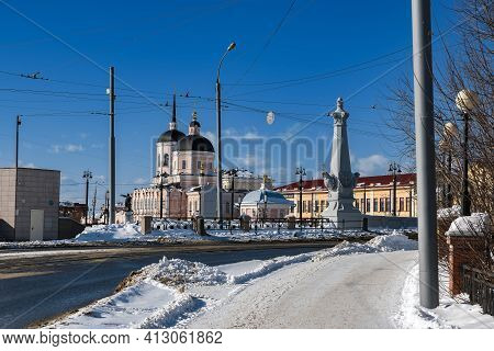 Tomsk, Russia - March 7, 2021. Historical Urban District Of The City Of Tomsk - Governor's Quarter.