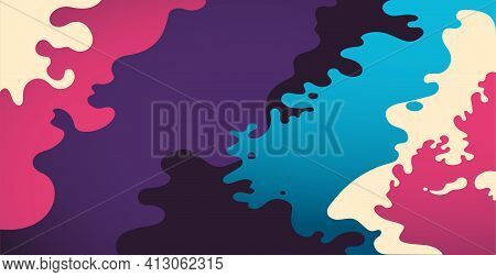 Liquid Abstract Splash Of Forms. Colorful Abstract Shapes. Futuristic Liquid Background. Bright Funk