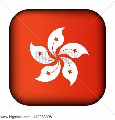 Glass Light Ball With Flag Of Hong Kong. Squared Template Icon. National Symbol. Glossy Realistic Cu