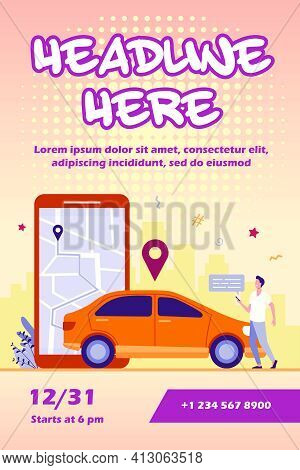 Man With Map On Smartphone Renting Car. Driver Using Car Sharing App On Phone And Searching Vehicle.
