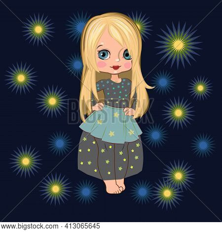 Little Girl In A Beautiful Dress. Flirts. Handsome Fashionable Child. Vector Illustration