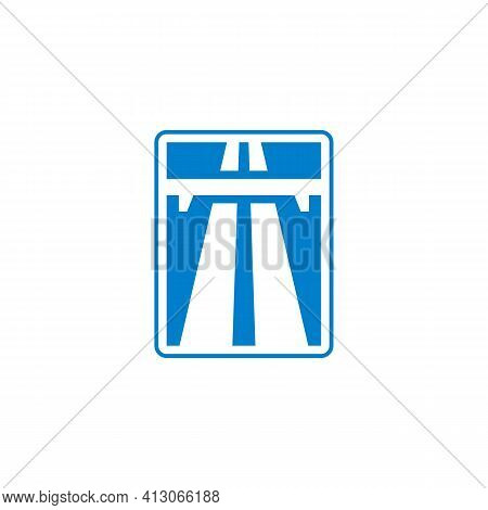 Freeway Traffic Sign Flat Icon, Road Highway Vector Sign, Motorway Colorful Pictogram Isolated On Wh