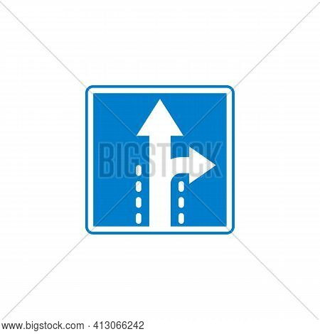 Turn Right Or Continue Straight Ahead Flat Icon, Vector Sign, Colorful Pictogram Isolated On White.