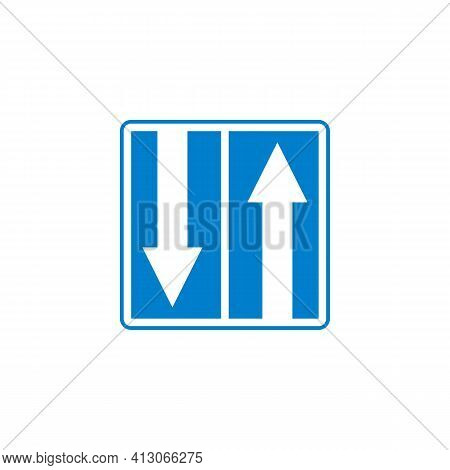Two Way Traffic Sign Flat Icon, Up Down Arrow Vector Sign, Colorful Pictogram Isolated On White. Sym