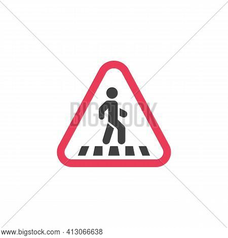 Pedestrian Warning Sign Flat Icon, Pedestrian Crossing Vector Sign, Colorful Pictogram Isolated On W