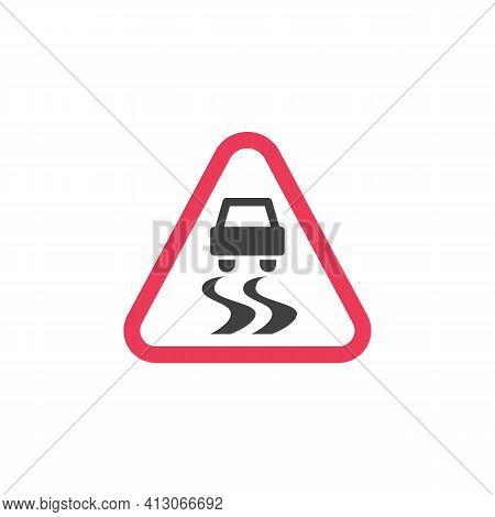Warning Slippery Road Sign Flat Icon, Vector Sign, Colorful Pictogram Isolated On White. Symbol, Log