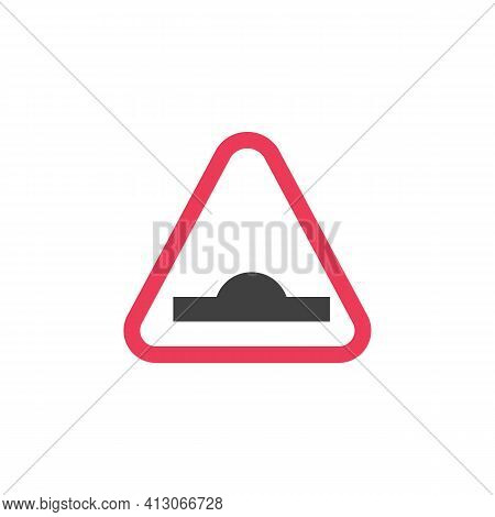 Hump Ahead Warning Sign Flat Icon, Speed Bump Vector Sign, Colorful Pictogram Isolated On White. Sym