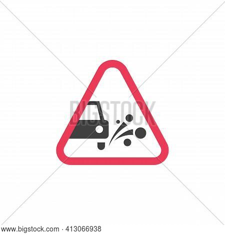 Loose Chippings Warning Road Sign Flat Icon, Loose Gravel Or Stone Vector Sign, Colorful Pictogram I