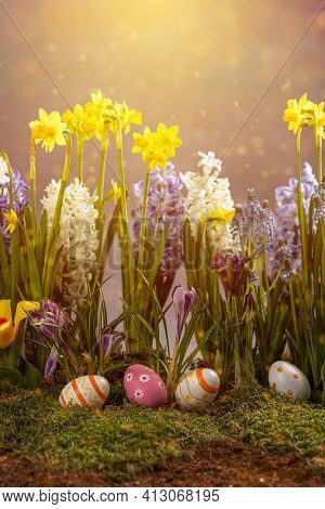 Easter Composition With Spring Flowers And Easter Eggs. Easter Card With Copy Space.