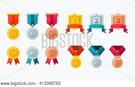 Collection Of Vector Icons Of Various Award Medal. Suitable For The Design Element Of A Championship