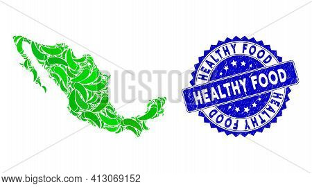 Green Mexico Mosaic Map Made With Chili Pepper Elements, And Healthy Food Distress Seal Stamp. Vecto