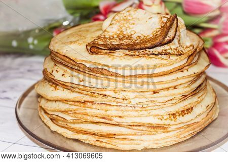 Appetite, Delicious Pancakes On A Plate Close-up. Carnival Festival.