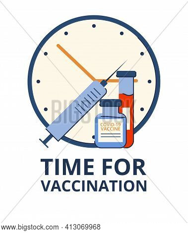 Time Of Vaccination Against Covid-19. Virus Protection. Checking For Antibodies And Test Result. Iso