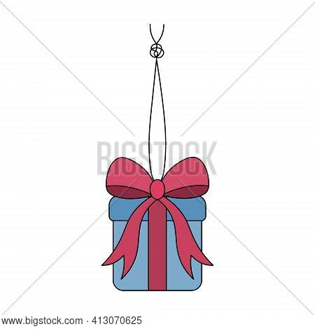 The Gift In The Box Is Tied With A Bow. The Surprise Box Hangs On A String With A Knot. Colored Vect