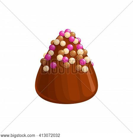 Chocolate Candy, Sweet Dessert Truffle Praline Icon, Vector Confection Food. Chocolate Candy Comfit