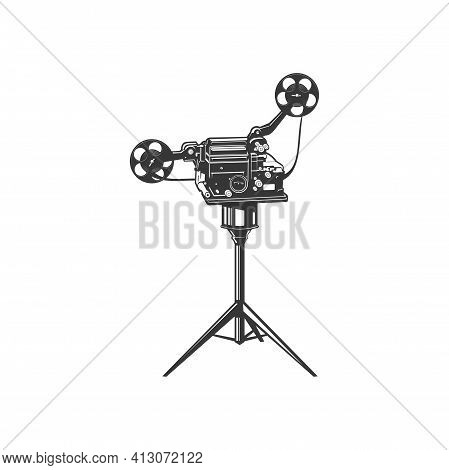 Retro Photocamera, Film Making Machine, Cinematography Cam Isolated Monochrome Icon. Vector Old Film