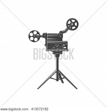 Old Film Projector Isolated Retro Camera With Reels Monochrome Icon. Vector Retro Movie Camera On Tr