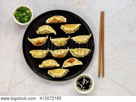 Japanese Pan-fried Dumplings, Gyoza, Are Popular Weeknight Meal As Well As A Great Appetizer For Din