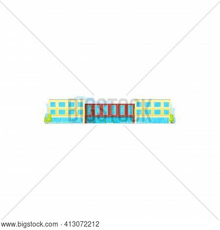 School Building, College Or University And Education Academy Campus, Vector Architecture Icon. High