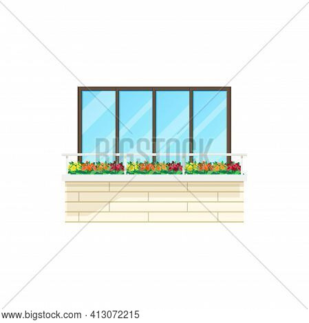 Balcony House Window, Building Facade Architecture, Vector Flat Icon. Apartments Balcony With Brick