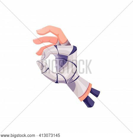 Cyborg Hand Or Robot Arm With Ok Gesture, Vector Artificial Intelligence. Robot Hand With Okay Finge