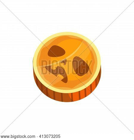 Orange Sucker, Lollipop Scary Holiday Confection Realistic Icon. Vector Halloween Round Caramel Cand