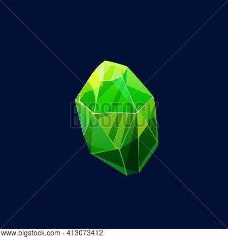 Green Magic Crystal Vector Icon, Rock, Organic Gem Stone. Raw Precious Or Semiprecious Mineral, Emer
