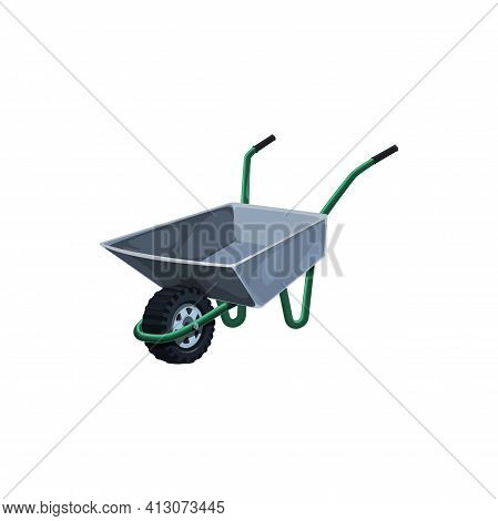 Wheelbarrow, Metal Garden Barrow For Gardening Or Farming Works Vector Icon. Wheeled Cart Equipment