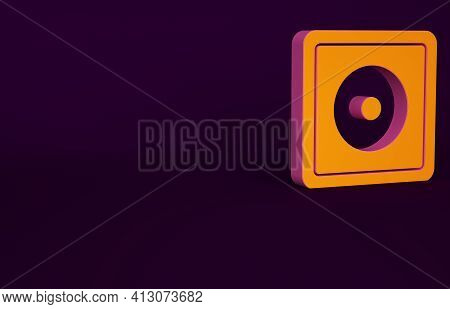 Orange Billiard Chalk Icon Isolated On Purple Background. Chalk Block For Billiard Cue. Minimalism C