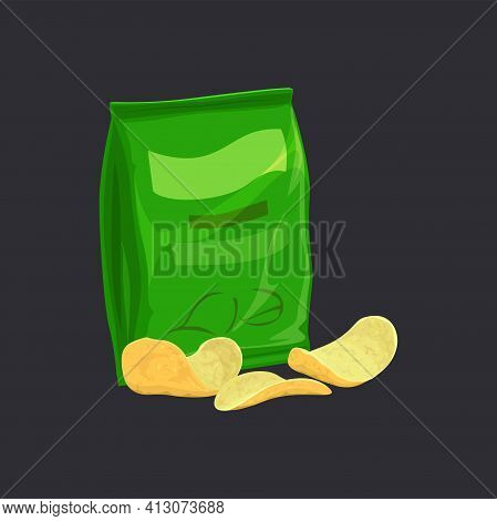 Salted Potato Chips In Green Pack Isolated Crispy Chips Package. Vector Sliced Potatoes, Fastfood Sn